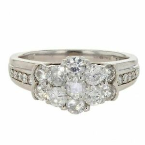 Womens - 18ct White Gold 1.00ct Diamond Cluster Ring - N