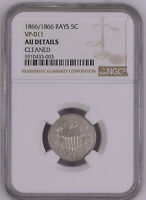 1866 Repunched Date 1866/1866 Shield Nickel 5C NGC AU Extremely Rare!