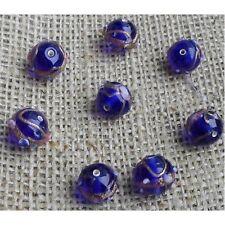 10 HANDMADE INDIAN LAMPWORK GLASS BEADS ~ 12mm Venetian Blue Round  ~ 35