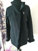Jones New York Signature Womens Faux Fur Trim Black Wool Blend Coat Size S
