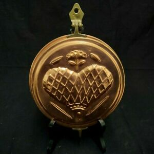 VINTAGE COPPER & BRASS OPENING WALL HANGING KEY HOLDER W/EMBOSSED HEART DESIGN