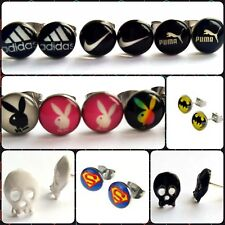 Novelty Pair Stud Earrings Stainless Steel Jewelry Pride, Nike, Adidas, Skull