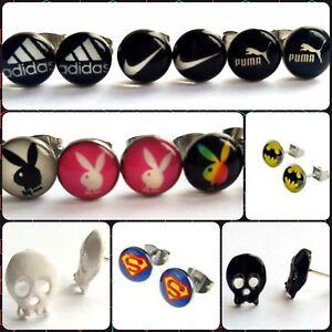 Novelty Pair Stud Earrings Stainless Steel Jewellery Pride, Nike, Adidas, Skull