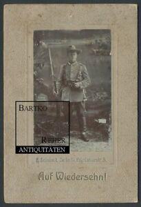 Foto ca. 1900 Afrika DSWA Windhuk Soldat mit Gewehr und aufgepflanztem Bajonett
