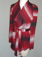 MISOOK Red Black White Cardigan Sweater Jacket w/ Belt - XS - EUC