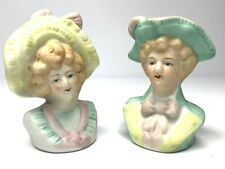 Victorian Busts Man Woman Vtg Japan Ceramic Painted Salt & Pepper Shakers Set