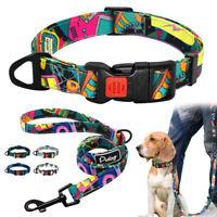 Nylon Dog Collar and Leash Set Safety Buckle for Medium Large Dogs Walking Ropes