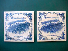 """Pair Of Porcelain """"HOLLAND AMERICA LINE"""" Trivets - 2002, Ms Zuiderdam ll"""