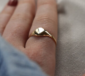 Genuine 9CT Yellow Gold Maidens' Ring Maidens' Plain Oval Signet Ring F-O Size