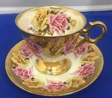 Royal Sealy Pink,Gold And Yellow Teacup and Saucer, Cabbage Roses