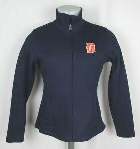 Detroit Tigers MLB Women's Blue Full Zip Medium Fleece Lined Embroidered Jacket