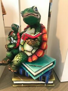 "Carlos and Albert ceramic sculpture parent w/ baby Turtle Book Club 16"" numbered"
