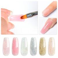 6Pcs MEET ACROSS 20ML Glitter Poly Quick Building UV Gel Nail Polish Shiny  Tool