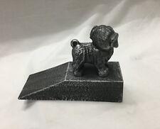 Cast Iron Dog Door Stop / Door Wedge Silver