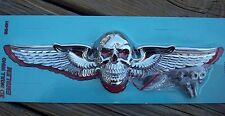 Chrome 3D Skull Wing Emblem License Plate Topper or Flat Surface for Harley