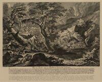Nach Joh. RIDINGER(*1698), Nächtliche Dachsjagd, 19.Jh, Reproduktion