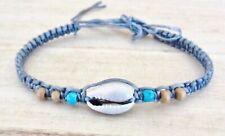 Blue Dragon Agate Bead Ball Anklet Grey Cord Surfer Adjustable Gemstone
