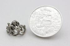 Sterling Silver & Pearl Figural Mermaid/Seahorse Ring w/ 2oz .999 Silver Sire...
