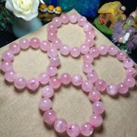 Natural Rose Quartz Pink Crystal Woman Round Beads Fashion Bracelet 16mm AAAA