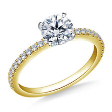 0.74 Ct VVS1 Round Solitaire Diamond Engagement Ring 18K Solid Yellow Gold Rings