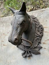 Cast Iron Horse Head Hitching Post Architectural Equestrian Decor Rustic Farm