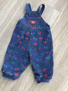 Vintage Oshkosh Bgosh Girls Bubble Vestbak Overalls Size 18m Blue Hearts Bows