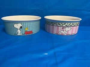 2  Snoopy stoneware DOG Bowls for Food & Water