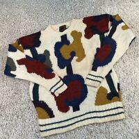 VINTAGE Boston Traders Womens Knitted Jumper Medium Wool Patterned Knit Pullover