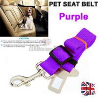 UK Adjustable Dog Pet Car Safety Seat Belt Harness Travel Lead by Clip  - PURPLE