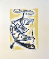 Rainer Zille: Abstrakte Komposition in Ocker. Original-Siebdruck, signiert/numm.