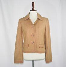 New-Size Medium-Gap-Women Wool Tweed Jacket Blazer-Camel Tan-Pink Stich-Long Slv
