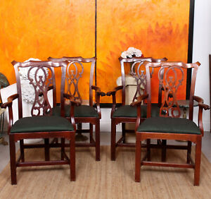 4 Antique Dining Chairs Chippendale Armchairs Carvers Mahogany