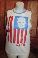 Captain America T Shirt Marvel White Sleeveless Cut Up Size 2X
