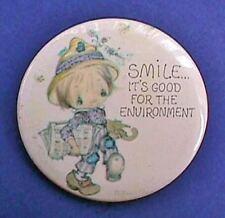 BUY1&GET1@50%~Hallmark PIN BUTTON-BETSEY CLARK Smile Good for Environment Vtg