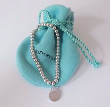 "Tiffany & Co Silver Return To Circle Round Charm 4mm Bead Ball 7"" Bracelet Pouch"