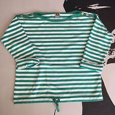 ANNE KLEIN Womens Green White Stripe Sweater Shirt 3/4 Sleeve Size Medium