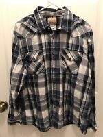 Roebuck And Co Pearl Snap Shirt Mens Size XL Blue And White Plaid Long Sleeve