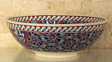 """Handmade Handpainted Turkish Ottoman Fine Art Ceramic Bowl 9,8"""" Diameter"""