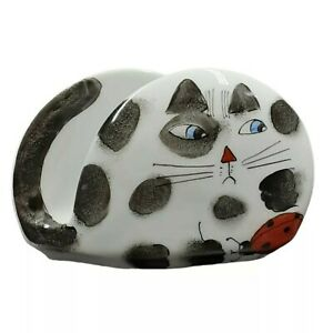 Cat and Ladybug Mail Bill Holder Black White and Red Stationary Keeper