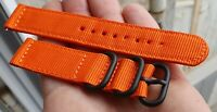 BRACELET NATO ZULU NYLON ORANGE PLONGEE 20 MM MONTRE ANCIENNE DIVERS CHRONO