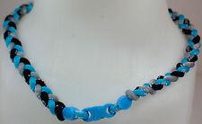 "New 20"" Custom Clasp Braided Sports Light Blue Gray Grey Black Tornado Necklace"