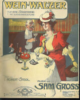 """Sam Gross ~ """" Wein-Walzer """"  , übergroße, alte Noten"""