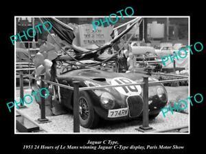 OLD POSTCARD SIZE PHOTO OF 1953 JAGUAR C TYPE PARIS MOTOR SHOW DISPLAY LE MANS