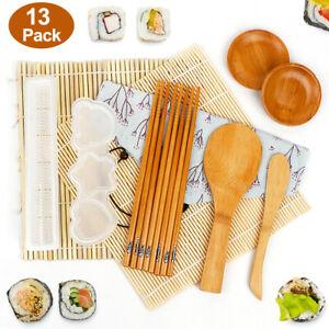 Bamboo Sushi Kit 13 Piece Rolling Mat Chopsticks Sauce Dish Paddle Spreader DIY