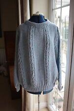 NUOVO HAND Knit Blu Acrilico Maglione Girocollo Collo Largo EXTRA LARGE 56 pollici petto