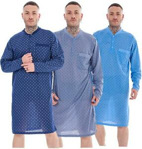 Mens Nightshirts Cotton Blend Loungewear Long Sleeve Pocket Printed Nightwear