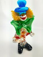 "Vintage - Murano Art Glass - Circus Clown - Green Bow & Blue Hat - 10"" Tall"