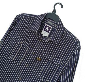 Men's G-STAR RAW ORIGINALS Premium Navy Stripe Pattern Shirt *SLIM* XL-L *VGC*