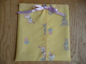 "NEW Handmade Baby  Drawstring Bag fully lined (9"" X 8"") lemon bunny pattern"