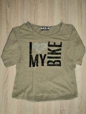 FLM Damen-T-Shirt Gr. M khaki mit Motiv